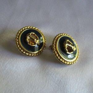 MONET NAVY/GOLD ANCHOT EARRINGS - NWOT